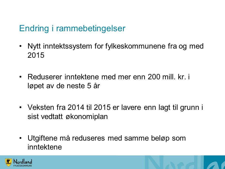 Endring i rammebetingelser Nytt inntektssystem for fylkeskommunene fra og med 2015 Reduserer inntektene med mer enn 200 mill.