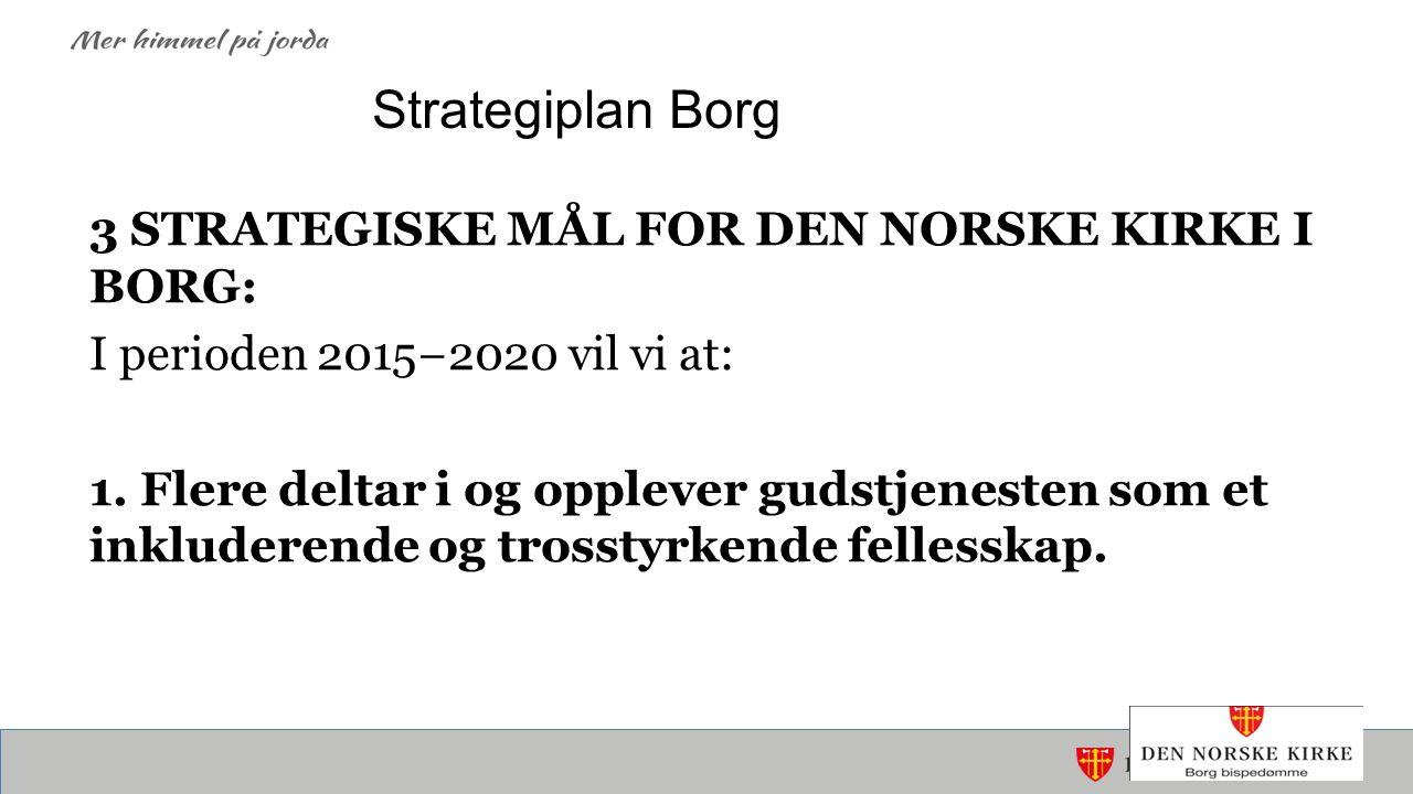 Strategiplan Borg 3 STRATEGISKE MÅL FOR DEN NORSKE KIRKE I BORG: I perioden 2015−2020 vil vi at: 1.
