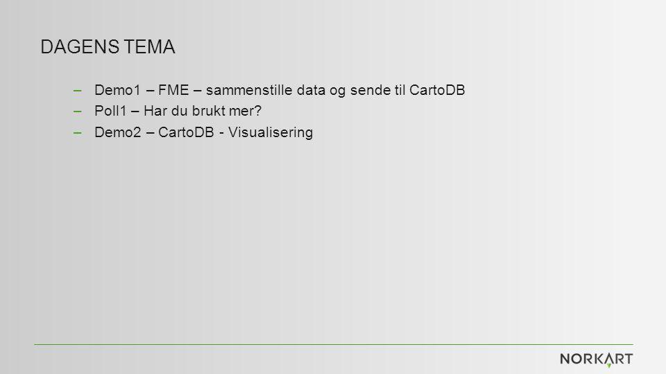 DAGENS TEMA –Demo1 – FME – sammenstille data og sende til CartoDB –Poll1 – Har du brukt mer.