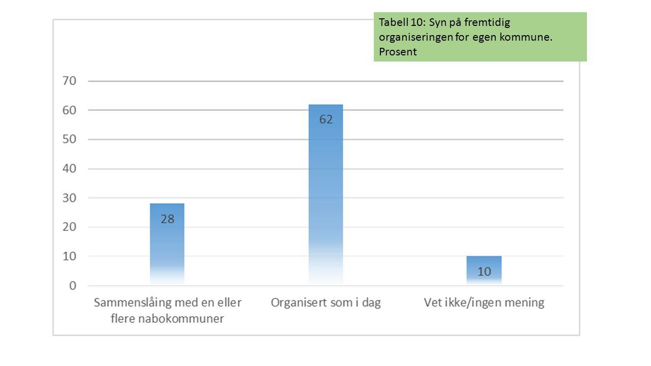 Tabell 10: Syn på fremtidig organiseringen for egen kommune. Prosent