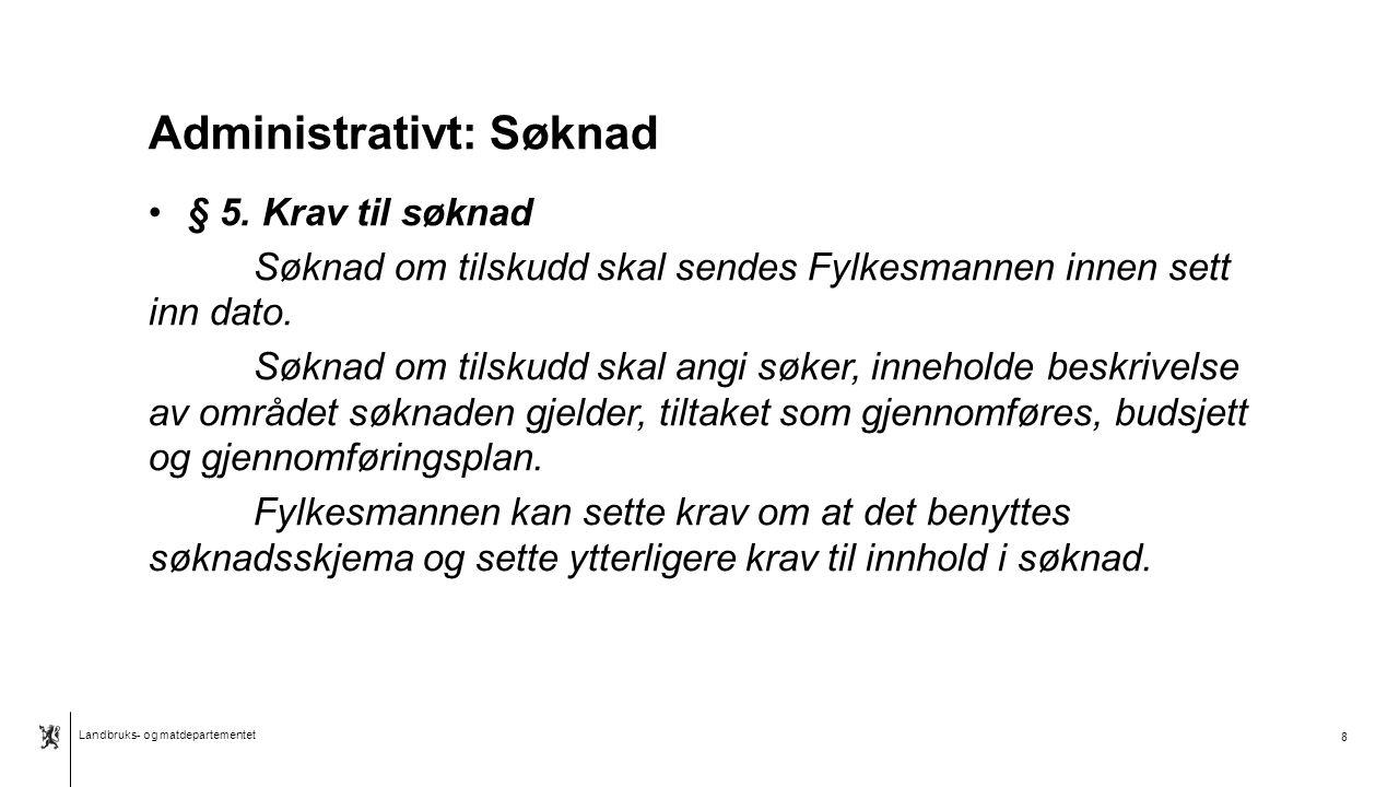 """Landbruks- og matdepartementet Norsk mal:Tekst med kulepunkter Tips bunntekst: For å få sidenummer, dato og tittel på presentasjon: Klikk på """"Sett Inn"""
