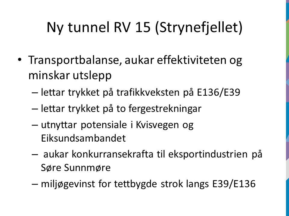 Ny tunnel RV 15 (Strynefjellet) Transportbalanse, aukar effektiviteten og minskar utslepp – lettar trykket på trafikkveksten på E136/E39 – lettar trykket på to fergestrekningar – utnyttar potensiale i Kvisvegen og Eiksundsambandet – aukar konkurransekrafta til eksportindustrien på Søre Sunnmøre – miljøgevinst for tettbygde strok langs E39/E136