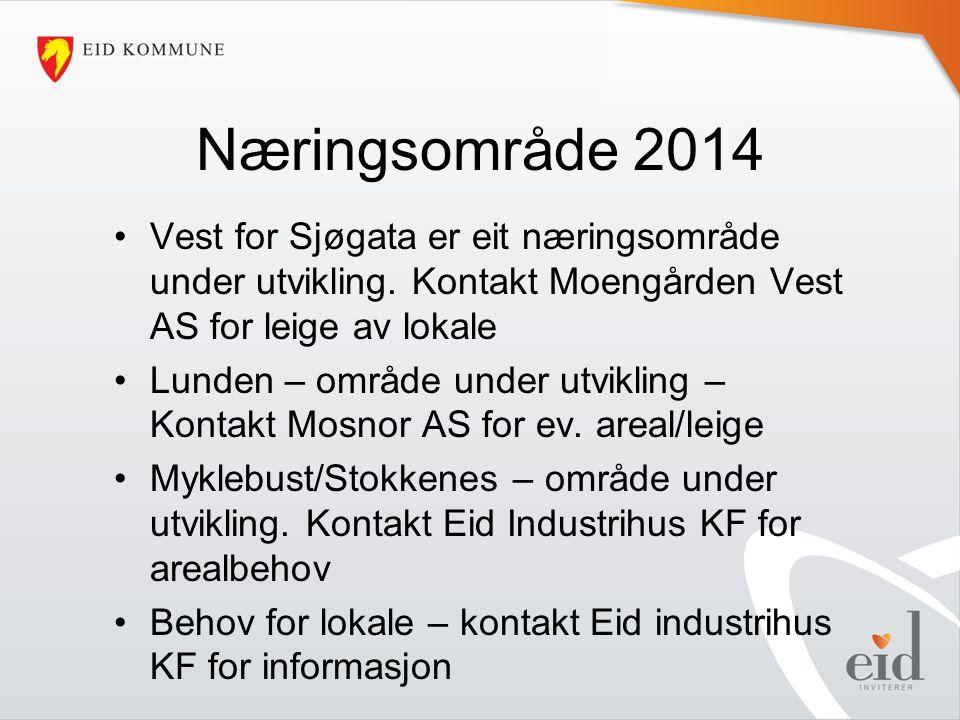 Næringsområde 2014 Vest for Sjøgata er eit næringsområde under utvikling.