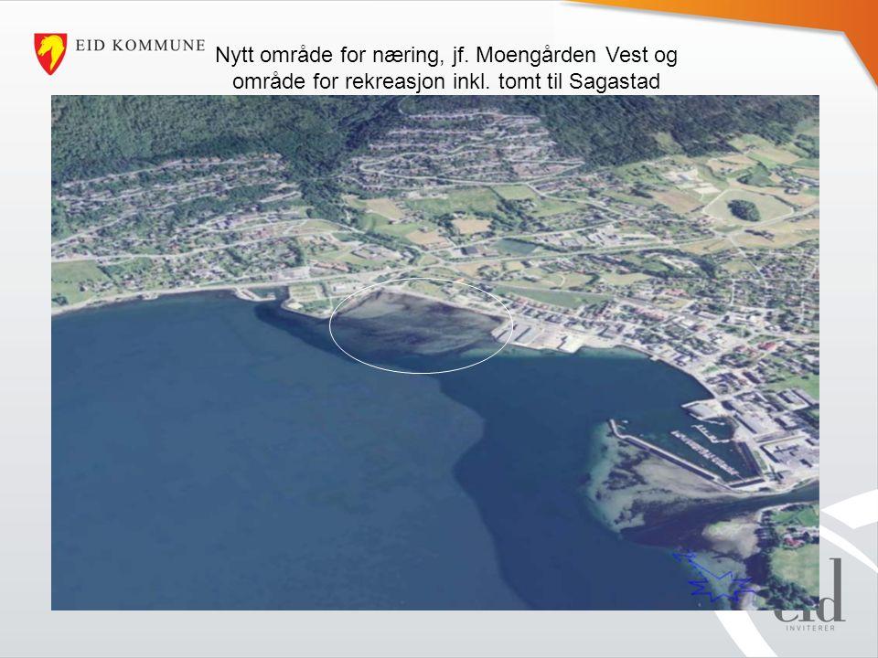Nytt område for næring, jf. Moengården Vest og område for rekreasjon inkl. tomt til Sagastad