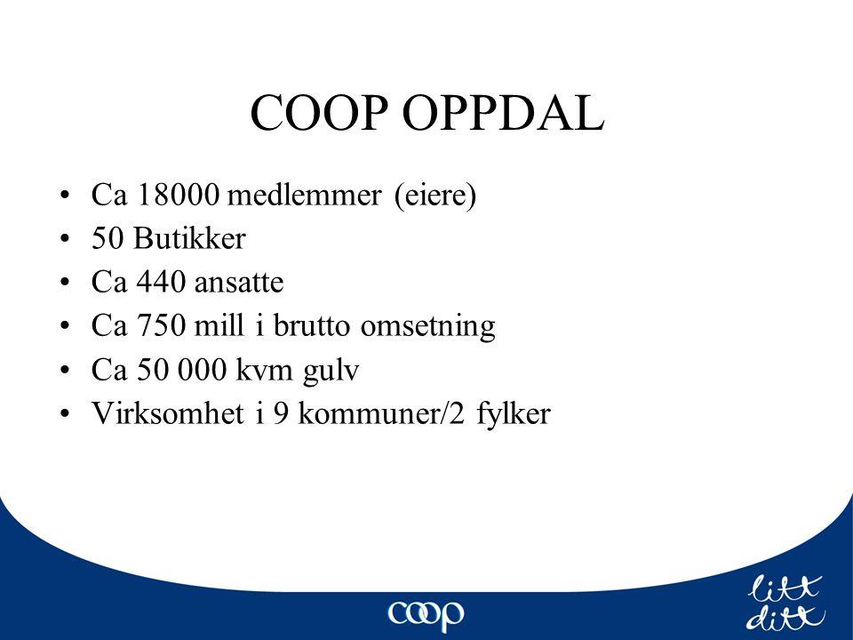 COOP OPPDAL Ca 18000 medlemmer (eiere) 50 Butikker Ca 440 ansatte Ca 750 mill i brutto omsetning Ca 50 000 kvm gulv Virksomhet i 9 kommuner/2 fylker