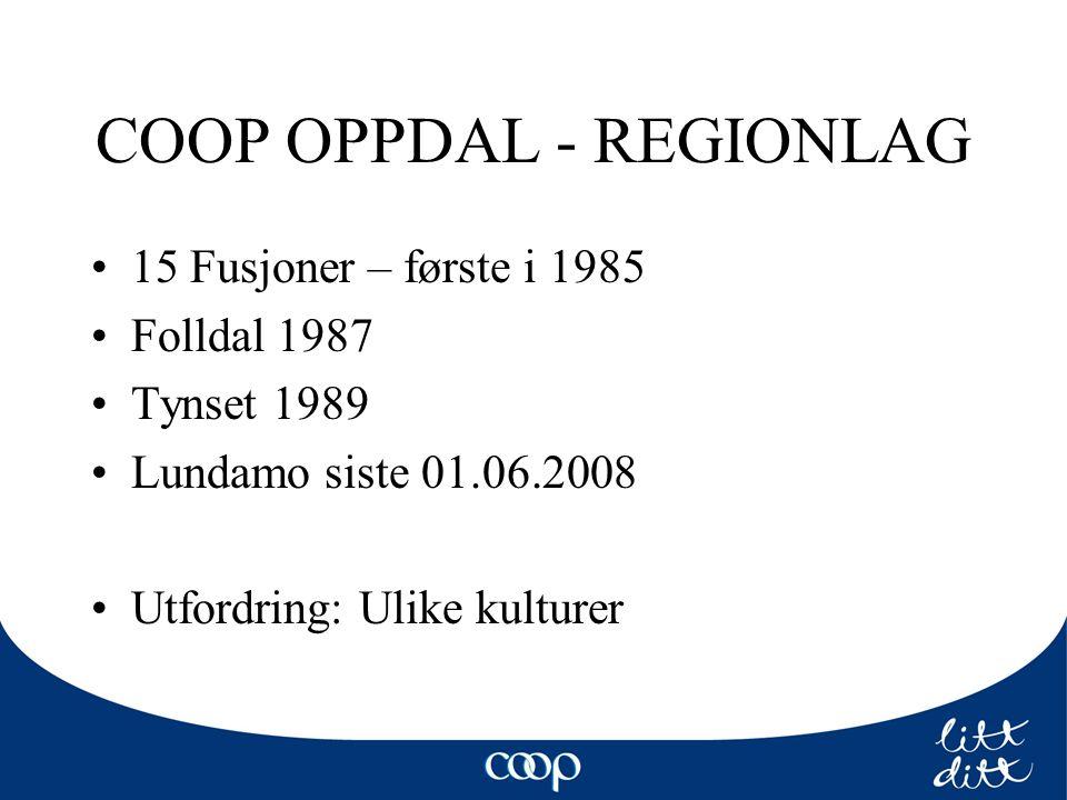 COOP OPPDAL - REGIONLAG 15 Fusjoner – første i 1985 Folldal 1987 Tynset 1989 Lundamo siste 01.06.2008 Utfordring: Ulike kulturer