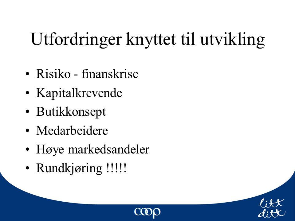 Utfordringer knyttet til utvikling Risiko - finanskrise Kapitalkrevende Butikkonsept Medarbeidere Høye markedsandeler Rundkjøring !!!!!