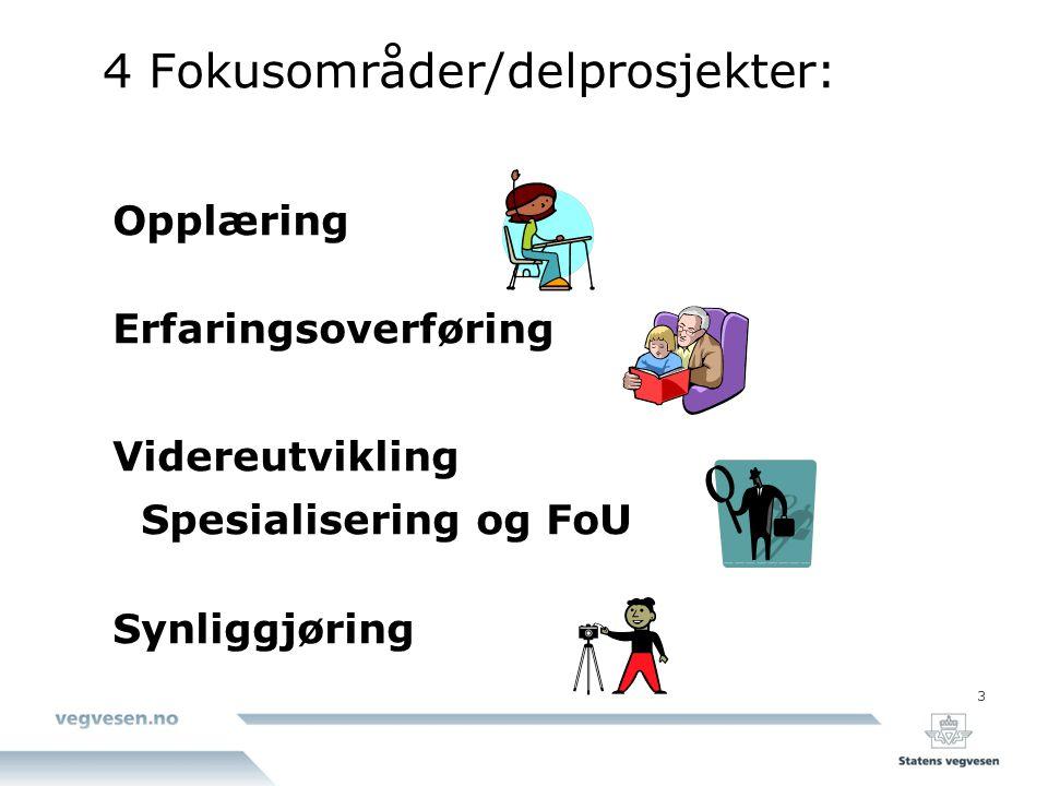 3 4 Fokusområder/delprosjekter: Opplæring Erfaringsoverføring Videreutvikling Spesialisering og FoU Synliggjøring