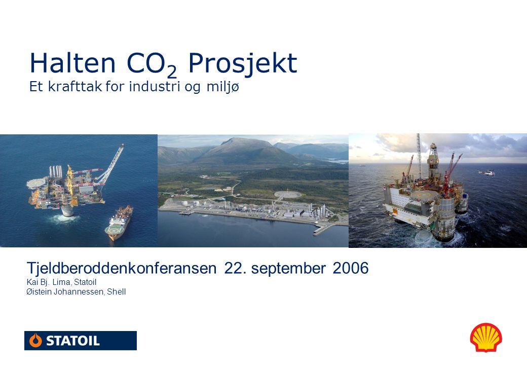 Halten CO 2 Prosjekt Et krafttak for industri og miljø Tjeldberoddenkonferansen 22. september 2006 Kai Bj. Lima, Statoil Øistein Johannessen, Shell