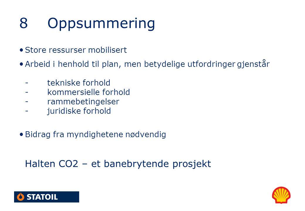 8Oppsummering Store ressurser mobilisert Arbeid i henhold til plan, men betydelige utfordringer gjenstår -tekniske forhold -kommersielle forhold -rammebetingelser -juridiske forhold Bidrag fra myndighetene nødvendig Halten CO2 – et banebrytende prosjekt