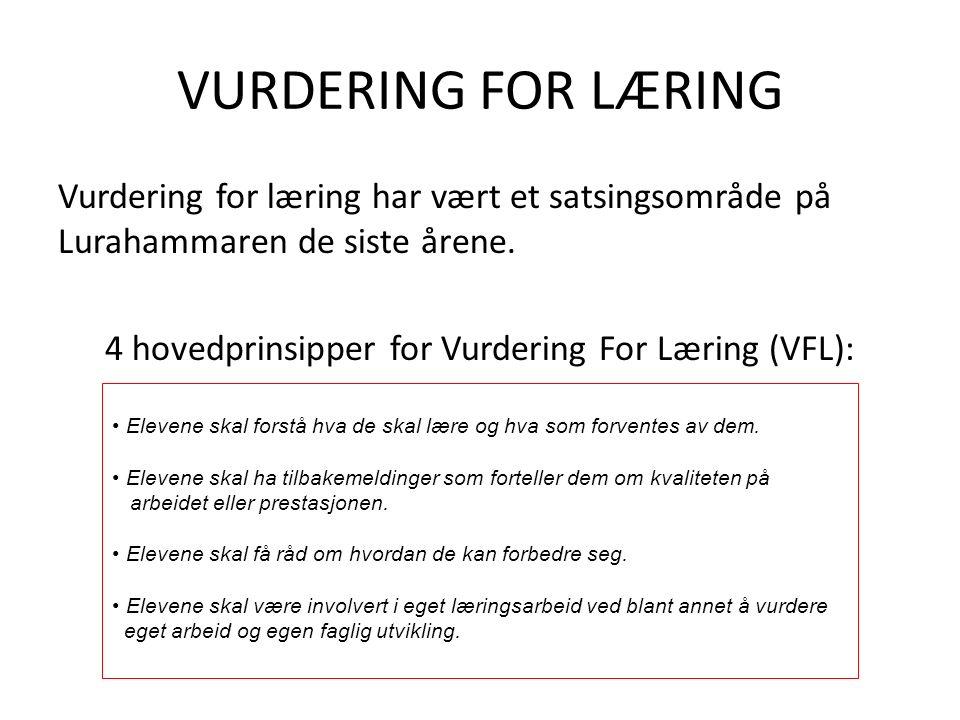 VURDERING FOR LÆRING Vurdering for læring har vært et satsingsområde på Lurahammaren de siste årene. 4 hovedprinsipper for Vurdering For Læring (VFL):
