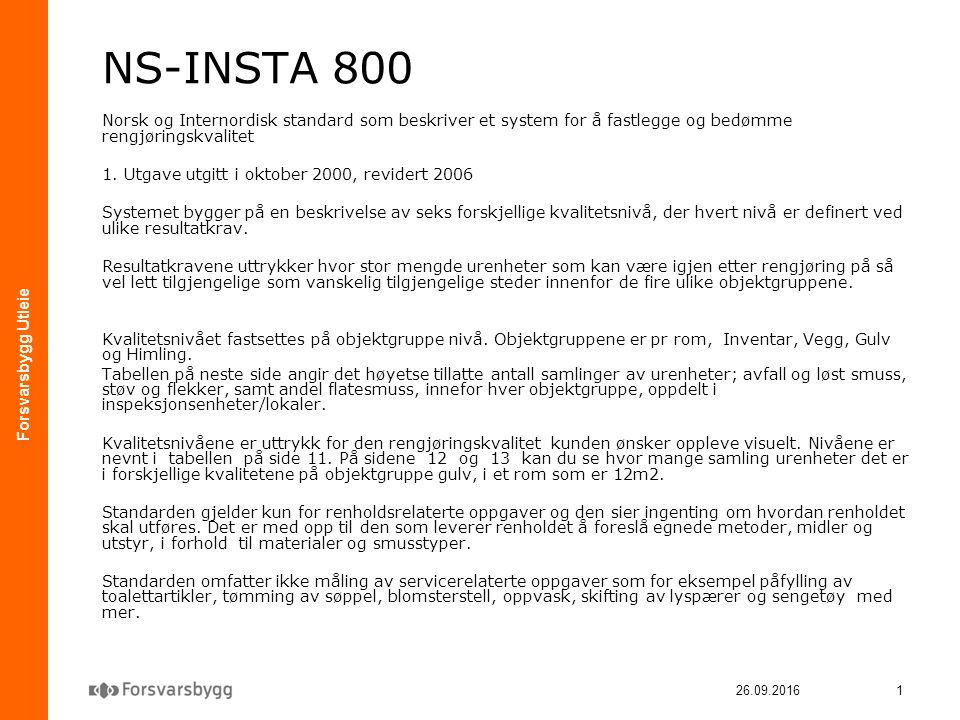 Forsvarsbygg Utleie 26.09.20161 NS-INSTA 800 Norsk og Internordisk standard som beskriver et system for å fastlegge og bedømme rengjøringskvalitet 1.