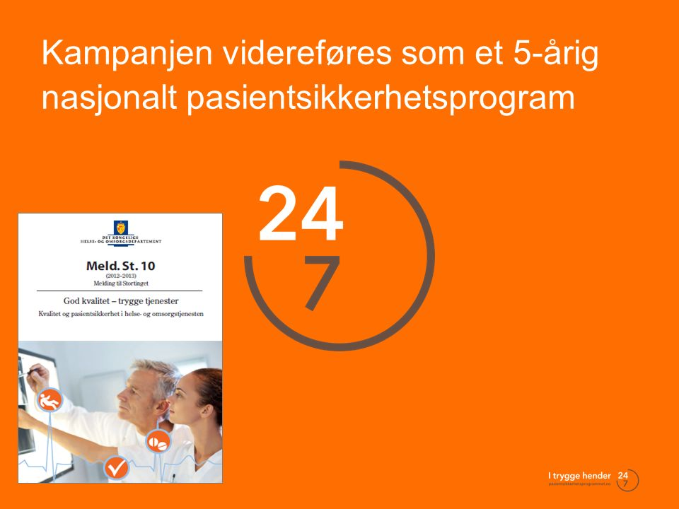Bunntekst 2 Kampanjen videreføres som et 5-årig nasjonalt pasientsikkerhetsprogram