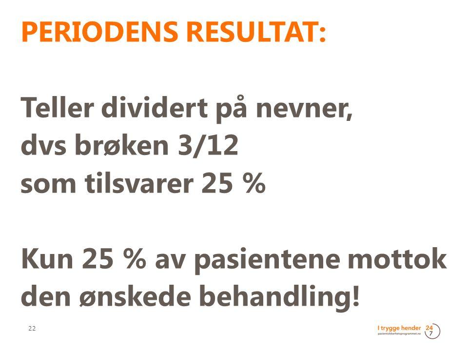 PERIODENS RESULTAT: Teller dividert på nevner, dvs brøken 3/12 som tilsvarer 25 % Kun 25 % av pasientene mottok den ønskede behandling! 22