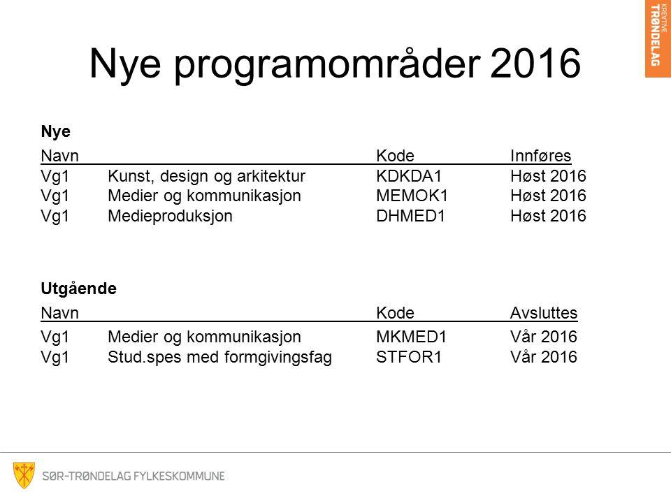 Nye programområder 2016 Nye NavnKodeInnføres Vg1Kunst, design og arkitekturKDKDA1Høst 2016 Vg1Medier og kommunikasjonMEMOK1Høst 2016 Vg1Medieproduksjo