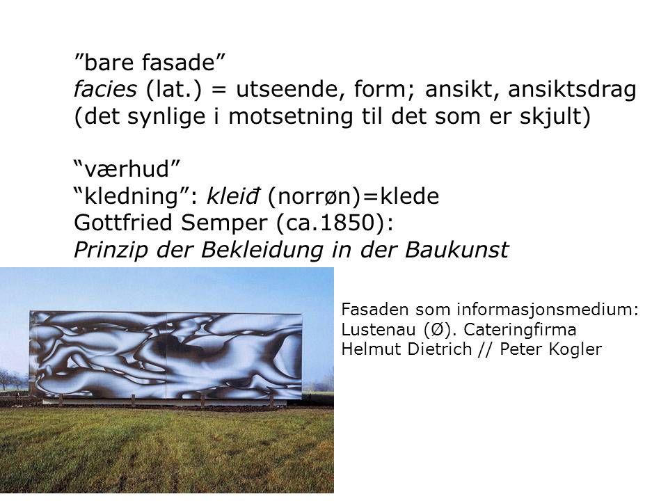 """bare fasade"" facies (lat.) = utseende, form; ansikt, ansiktsdrag (det synlige i motsetning til det som er skjult) ""værhud"" ""kledning"": kleiđ (norrøn)"