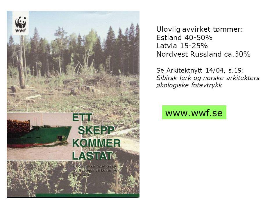 Ulovlig avvirket tømmer: Estland 40-50% Latvia 15-25% Nordvest Russland ca.30% Se Arkitektnytt 14/04, s.19: Sibirsk lerk og norske arkitekters økologi