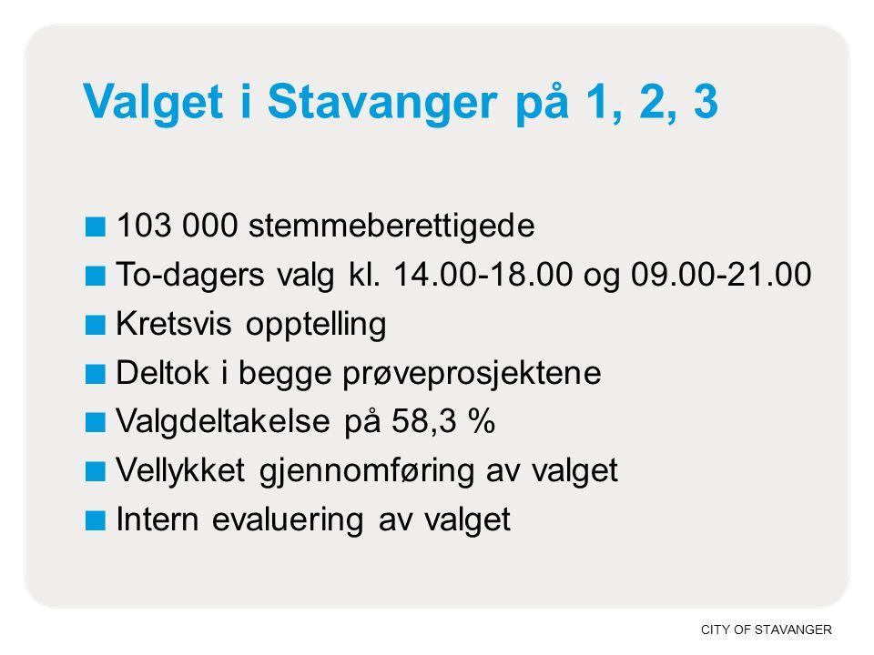 CITY OF STAVANGER Valget i Stavanger på 1, 2, 3 ■ 103 000 stemmeberettigede ■ To-dagers valg kl.