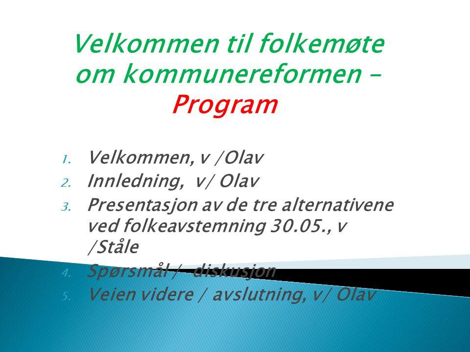 Velkommen til folkemøte om kommunereformen – Program 1.