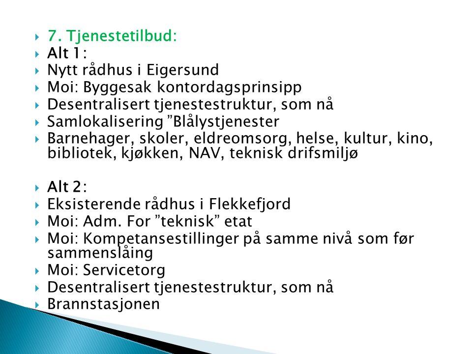  7. Tjenestetilbud:  Alt 1:  Nytt rådhus i Eigersund  Moi: Byggesak kontordagsprinsipp  Desentralisert tjenestestruktur, som nå  Samlokalisering