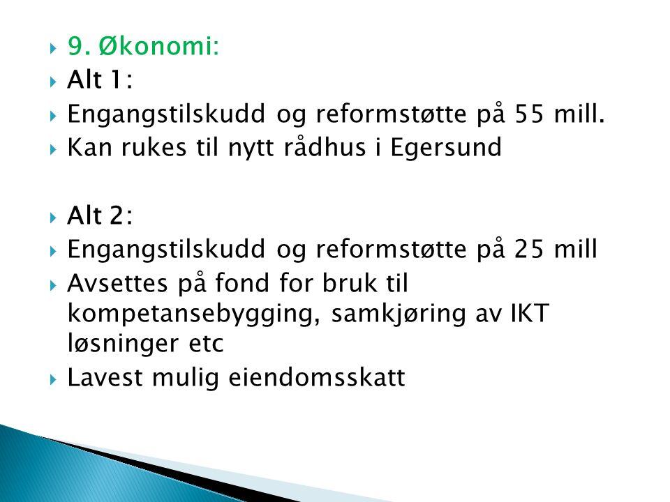  9. Økonomi:  Alt 1:  Engangstilskudd og reformstøtte på 55 mill.