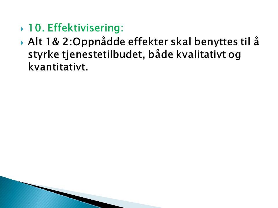  10. Effektivisering:  Alt 1& 2:Oppnådde effekter skal benyttes til å styrke tjenestetilbudet, både kvalitativt og kvantitativt.