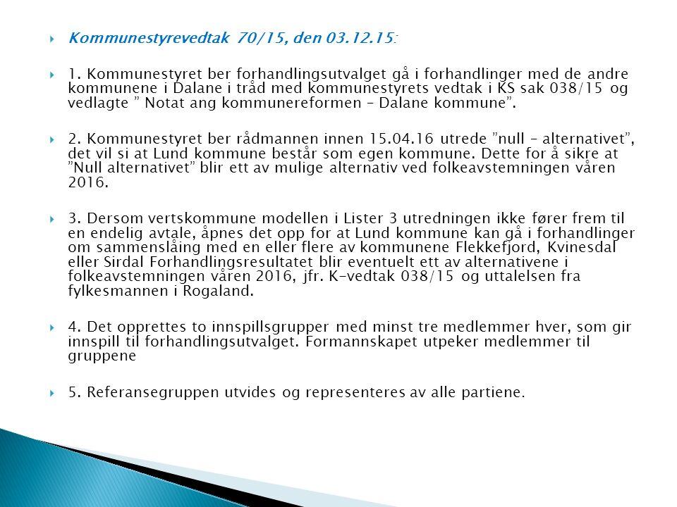  Kommunestyrevedtak 70/15, den 03.12.15:  1.
