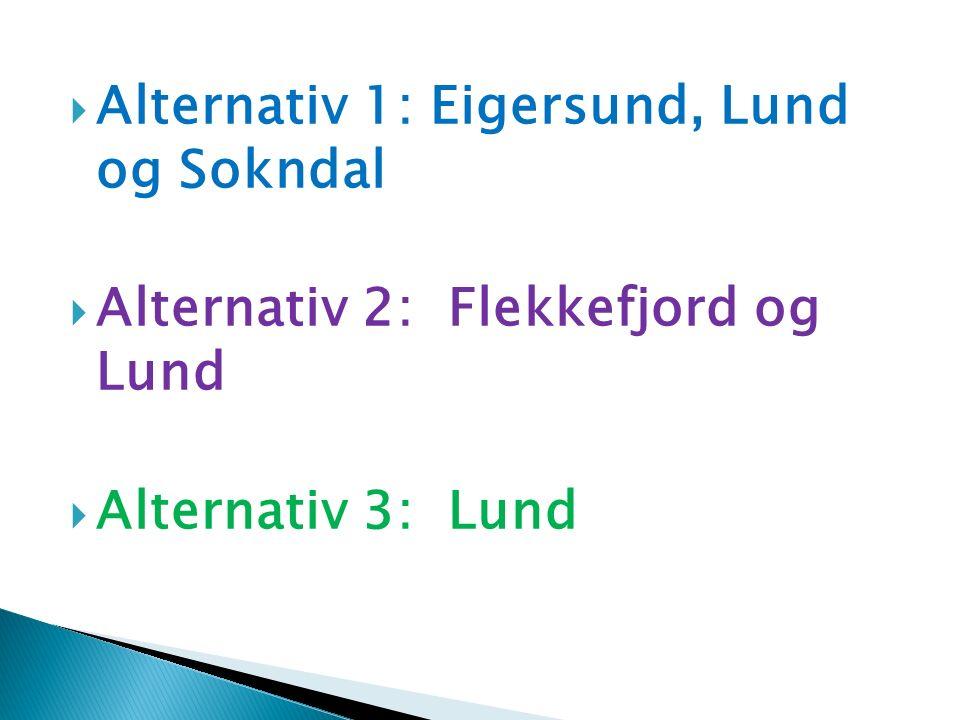  Økonomi:  Alt 3 Lund kommune:  - 2,0 mill i inntekter forhold til nå  Dette medfører behov for innsparing / økning inntekter, som f.
