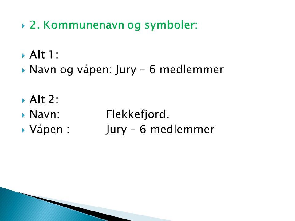  2. Kommunenavn og symboler:  Alt 1:  Navn og våpen: Jury – 6 medlemmer  Alt 2:  Navn: Flekkefjord.  Våpen :Jury – 6 medlemmer