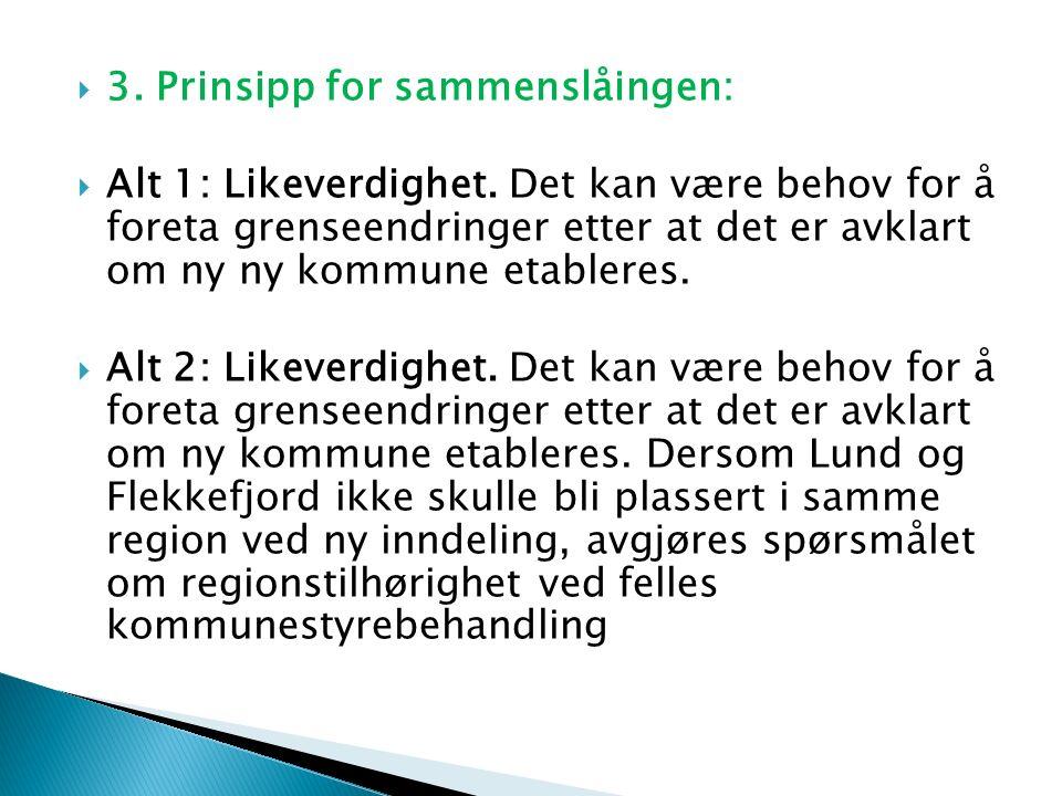  3. Prinsipp for sammenslåingen:  Alt 1: Likeverdighet.