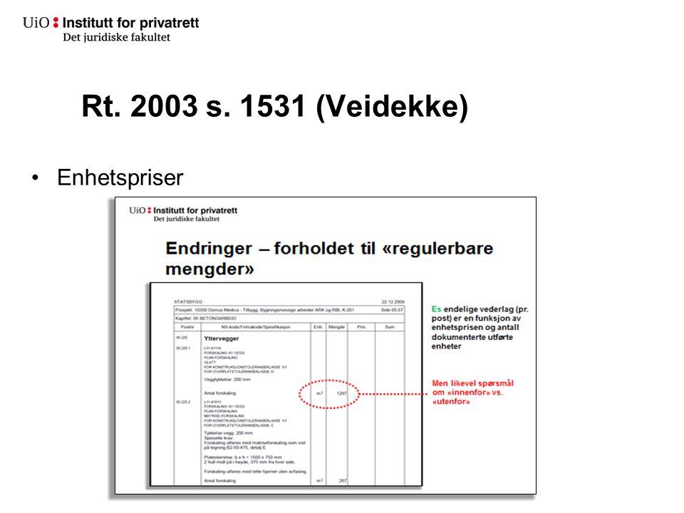 Rt. 2003 s. 1531 (Veidekke) Enhetspriser