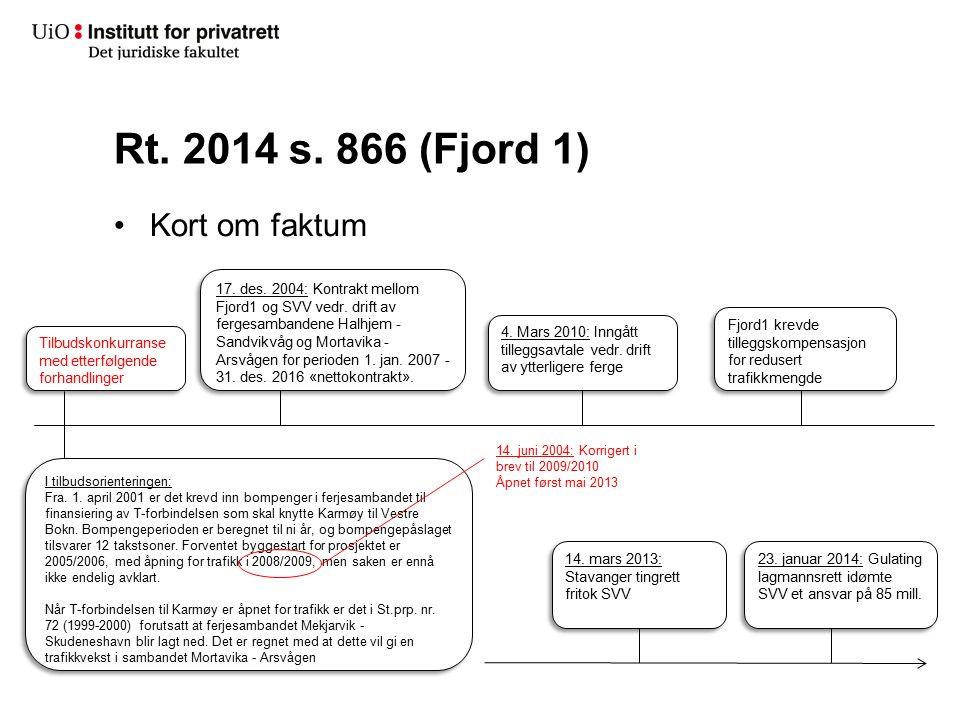 Rt. 2014 s. 866 (Fjord 1) Kort om faktum Tilbudskonkurranse med etterfølgende forhandlinger 4. Mars 2010: Inngått tilleggsavtale vedr. drift av ytterl