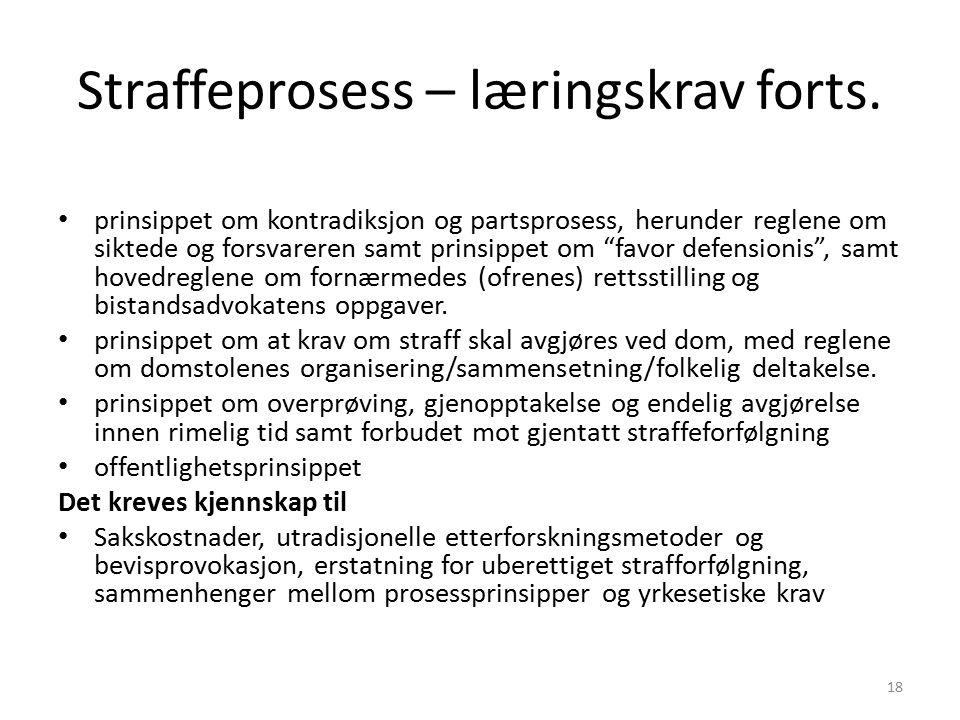 Straffeprosess – læringskrav forts.