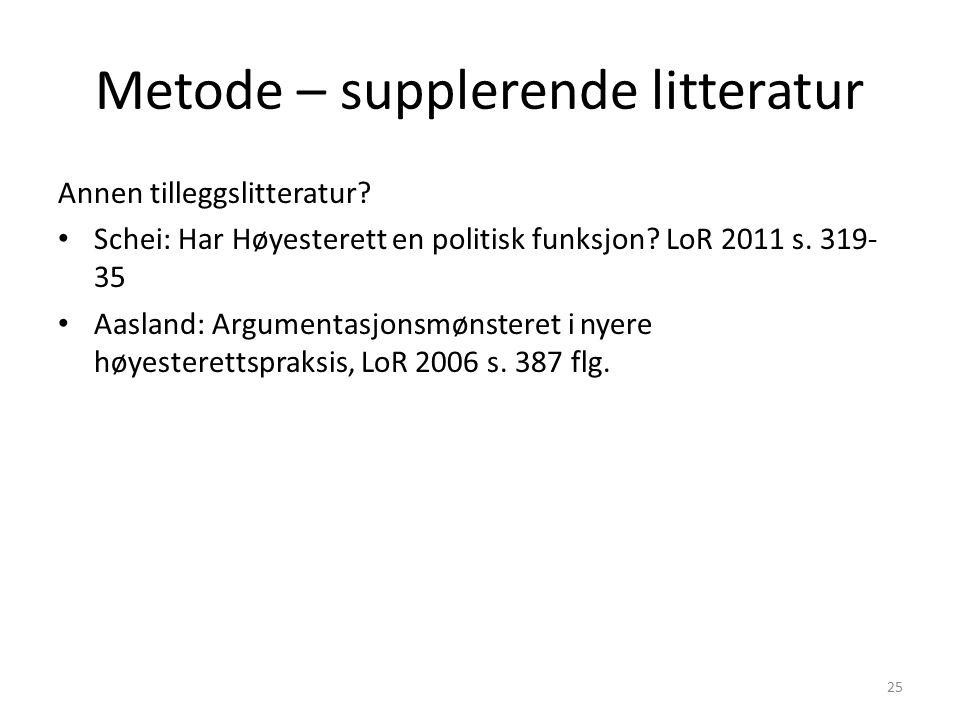 Metode – supplerende litteratur Annen tilleggslitteratur.