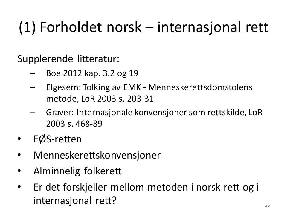 (1) Forholdet norsk – internasjonal rett Supplerende litteratur: – Boe 2012 kap.
