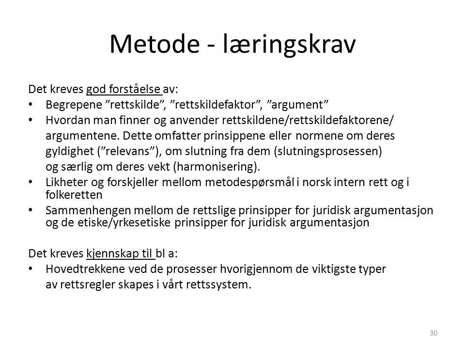 Metode - læringskrav Det kreves god forståelse av: Begrepene rettskilde , rettskildefaktor , argument Hvordan man finner og anvender rettskildene/rettskildefaktorene/ argumentene.