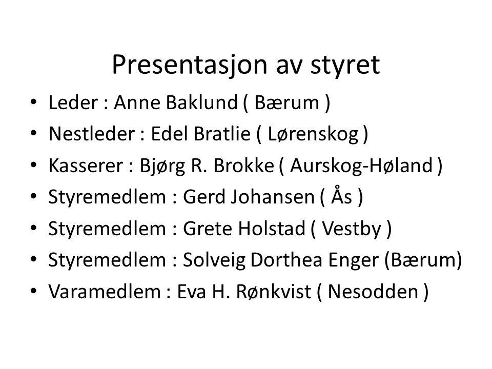 Presentasjon av styret Leder : Anne Baklund ( Bærum ) Nestleder : Edel Bratlie ( Lørenskog ) Kasserer : Bjørg R.