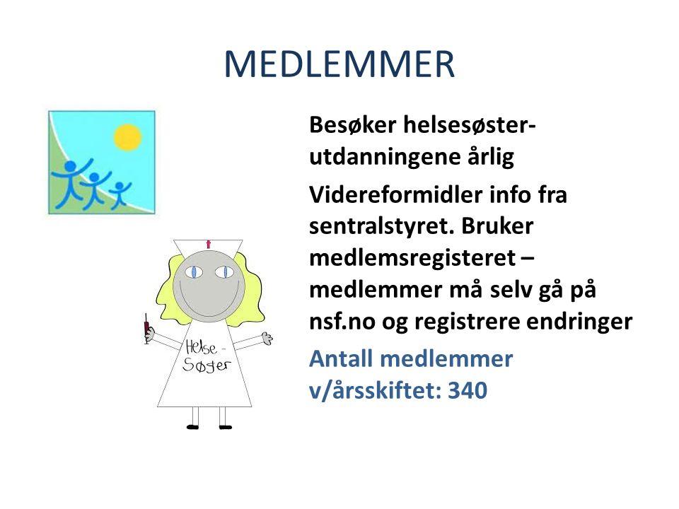 MEDLEMMER Besøker helsesøster- utdanningene årlig Videreformidler info fra sentralstyret.