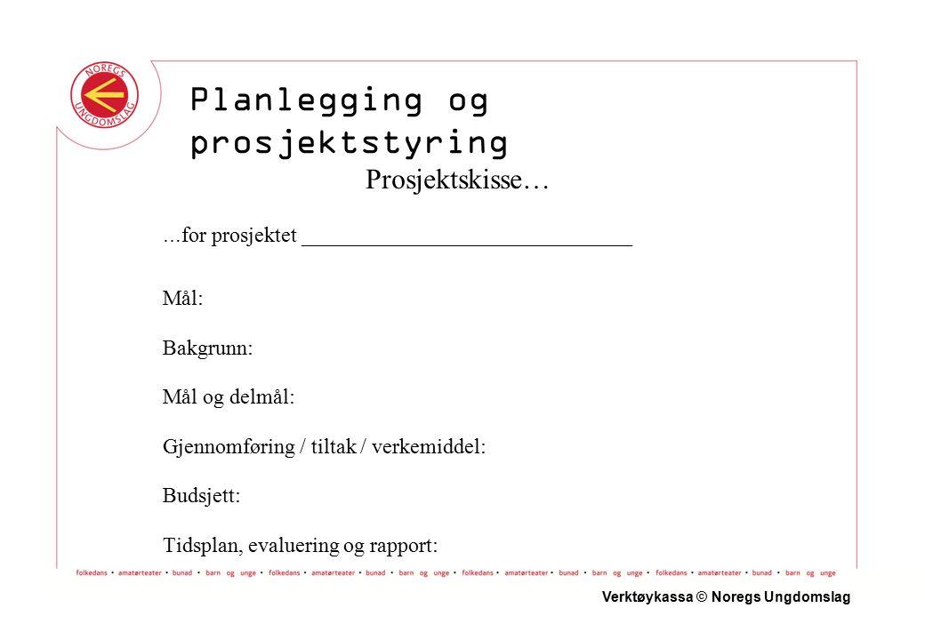 Prosjektskisse… … for prosjektet _______________________________ Mål: Bakgrunn: Mål og delmål: Gjennomføring / tiltak / verkemiddel: Budsjett: Tidsplan, evaluering og rapport: Verktøykassa © Noregs Ungdomslag Planlegging og prosjektstyring
