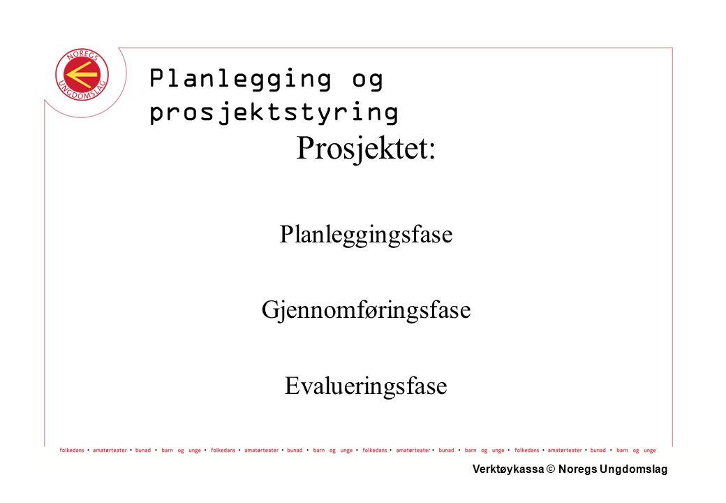 Prosjektet: Planleggingsfase Gjennomføringsfase Evalueringsfase Verktøykassa © Noregs Ungdomslag Planlegging og prosjektstyring