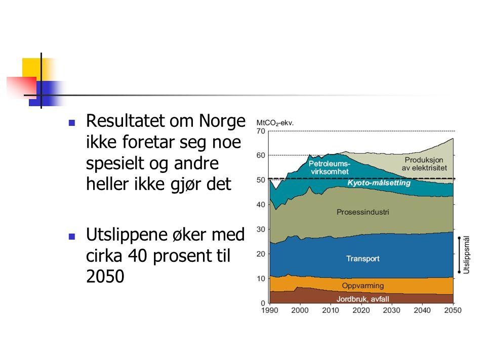 Resultatet om Norge ikke foretar seg noe spesielt og andre heller ikke gjør det Utslippene øker med cirka 40 prosent til 2050