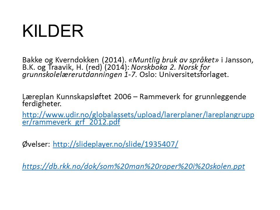 KILDER Bakke og Kverndokken (2014). «Muntlig bruk av språket» i Jansson, B.K.