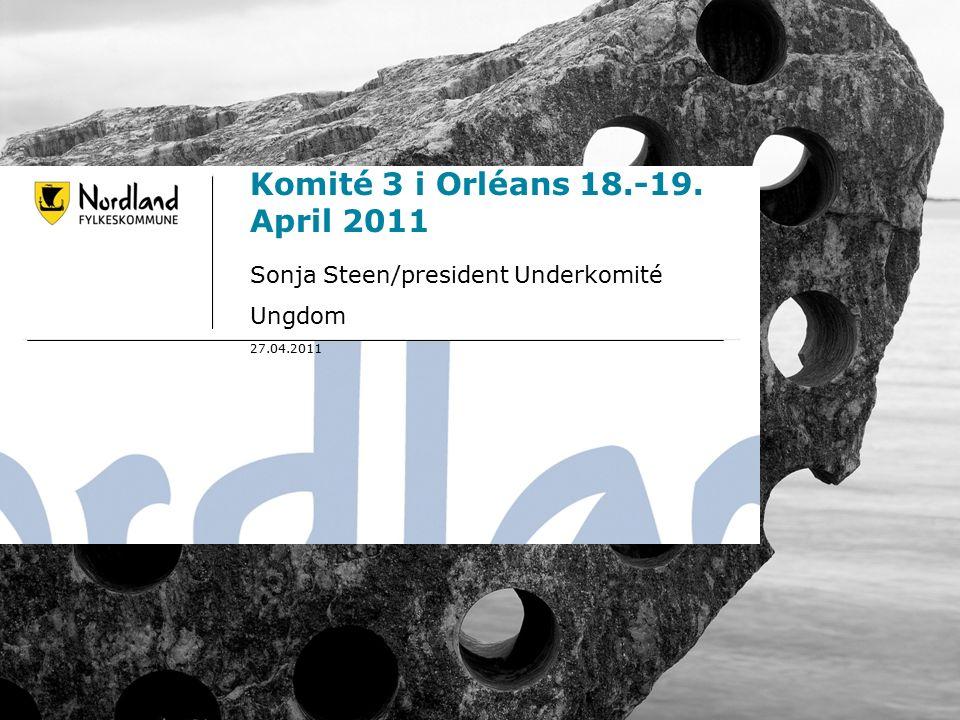 26.09.20161 Komité 3 i Orléans 18.-19. April 2011 Sonja Steen/president Underkomité Ungdom 27.04.2011