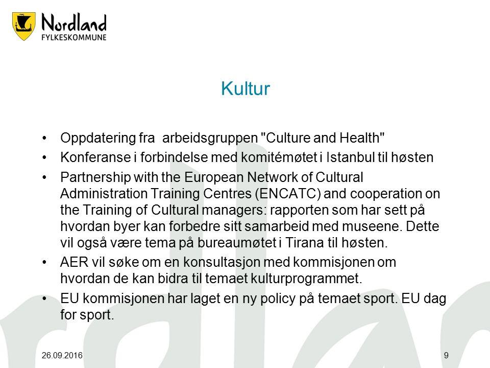 26.09.20169 Kultur Oppdatering fra arbeidsgruppen