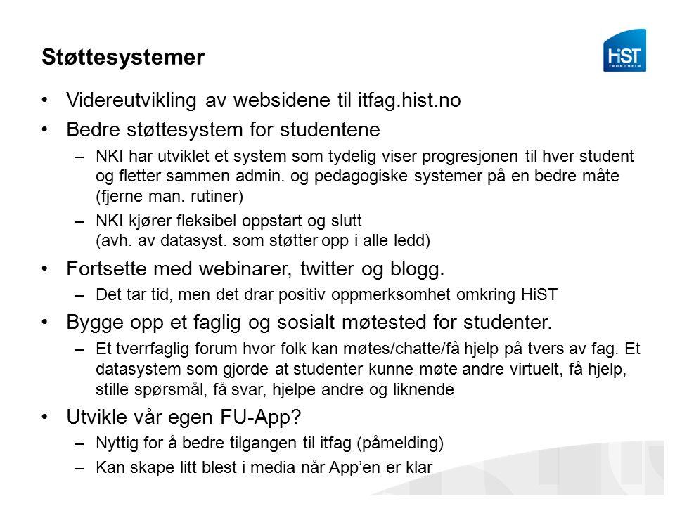 Støttesystemer Videreutvikling av websidene til itfag.hist.no Bedre støttesystem for studentene –NKI har utviklet et system som tydelig viser progresjonen til hver student og fletter sammen admin.