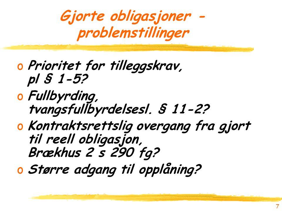 7 Gjorte obligasjoner - problemstillinger oPrioritet for tilleggskrav, pl § 1-5.