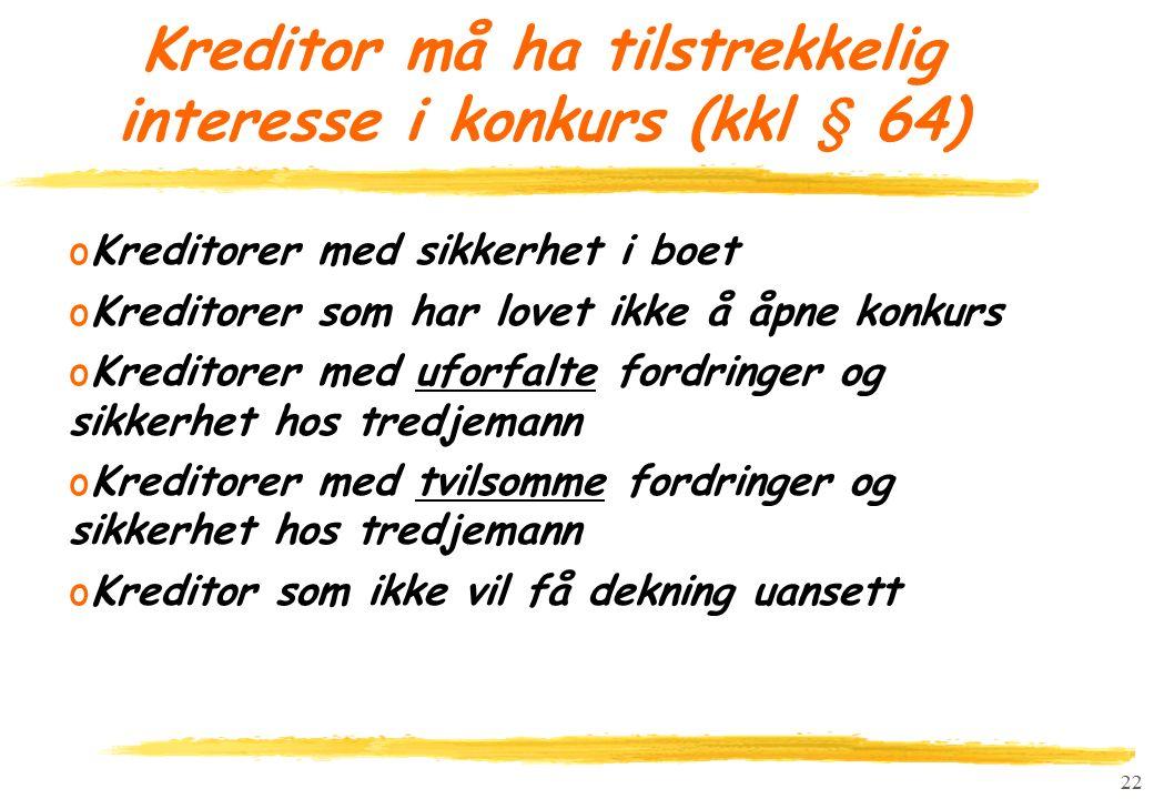 22 Kreditor må ha tilstrekkelig interesse i konkurs (kkl § 64) oKreditorer med sikkerhet i boet oKreditorer som har lovet ikke å åpne konkurs oKredito
