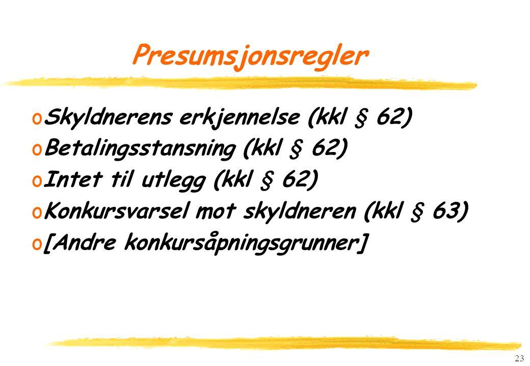 23 Presumsjonsregler oSkyldnerens erkjennelse (kkl § 62) oBetalingsstansning (kkl § 62) oIntet til utlegg (kkl § 62) oKonkursvarsel mot skyldneren (kkl § 63) o[Andre konkursåpningsgrunner]