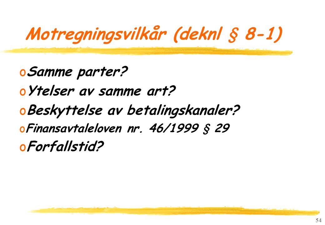 54 Motregningsvilkår (deknl § 8-1) oSamme parter. oYtelser av samme art.