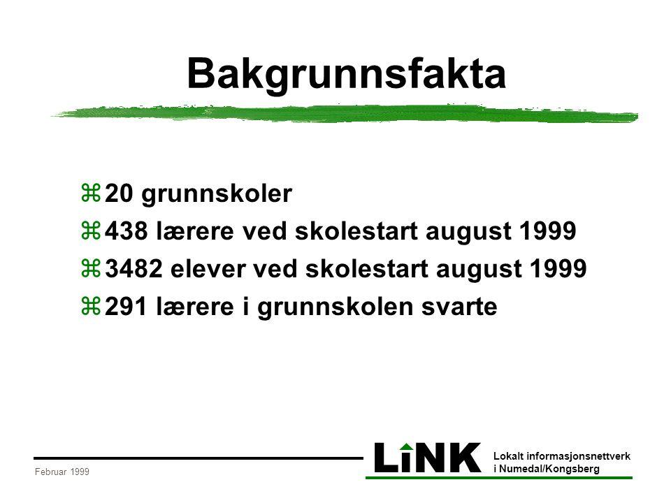 LiNK Lokalt informasjonsnettverk i Numedal/Kongsberg Februar 1999 Bakgrunnsfakta  20 grunnskoler  438 lærere ved skolestart august 1999  3482 elever ved skolestart august 1999  291 lærere i grunnskolen svarte